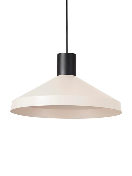 Hanglamp Kombo, Lampenkap: gecoat metaal, Lichtbeige, zwart, Ø 40 x H 21 cm