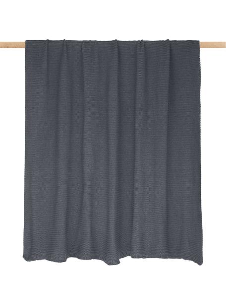 Manta de punto Adalyn, 100%algodón, Gris oscuro, An 150 x L 200 cm