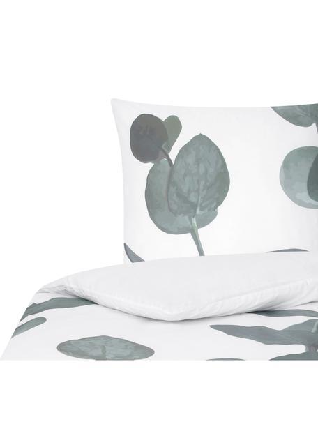 Baumwollperkal-Bettwäsche Eukalyptus mit Blattmotiv, Webart: Perkal Fadendichte 180 TC, Grün, Cremeweiß, 135 x 200 cm + 1 Kissen 80 x 80 cm