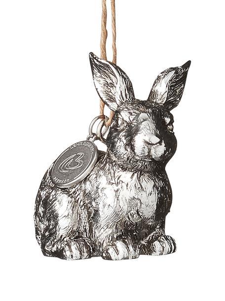Deko-Anhänger Bunny, 2 Stück, Kunststoff, Silberfarben, 4 x 6 cm