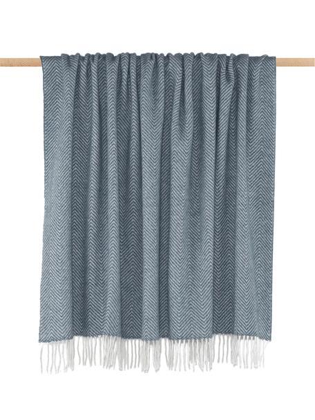 Wolldecke Aubrey mit feinem Zickzack-Muster, 80% Merinowolle, 20% Nylon, Blau, Gebrochenes Weiß, 140 x 200 cm