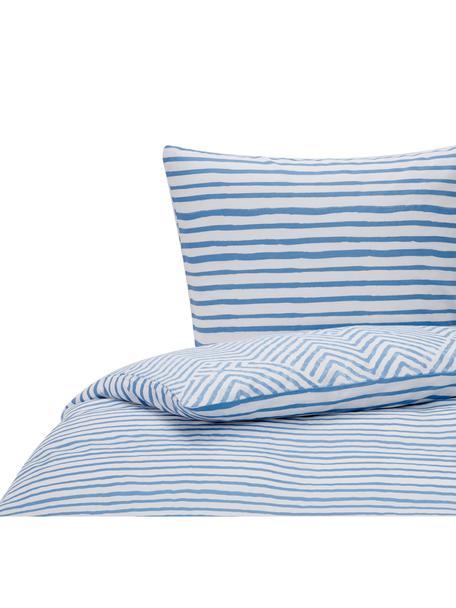 Dwustronna pościel z bawełny Get Framed, 100% bawełna Produkt wykonany jest z bawełny, jest przyjemnie miękki, dobrze wchłania wilgoć i przeznaczony jest dla alergików, Jasnoniebieski, biały, 135 x 200 cm + 1 poduszka 80 x 80 cm