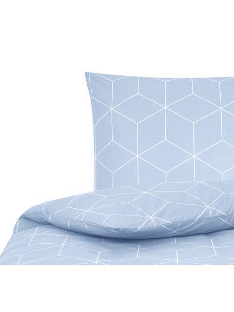 Baumwoll-Bettwäsche Lynn mit grafischem Muster, Webart: Renforcé Fadendichte 144 , Hellblau, Cremeweiss, 135 x 200 cm + 1 Kissen 80 x 80 cm