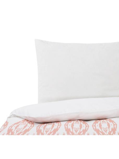 Dubbelzijdig dekbedovertrek Raden, Katoen, Bovenzijde: roze, wit. Onderzijde: wit, 140 x 200 cm