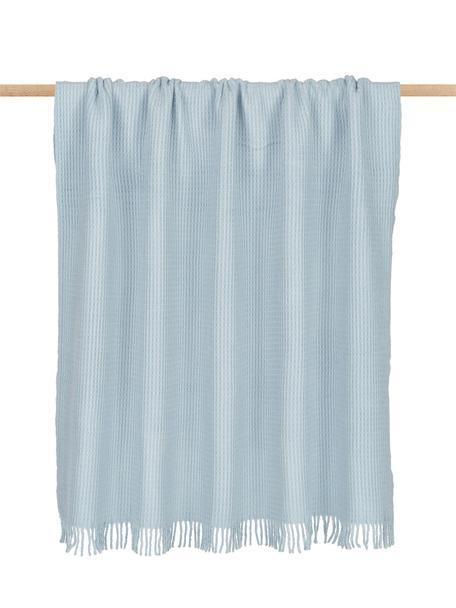 Manta con estructura gofre Sara, 50%algodón, 50%acrílico, Azul claro, An 140 x L 180 cm