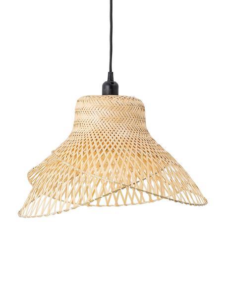 Lámpara de techo de bambú de diseño Mamus, Pantalla: bambú, Anclaje: metal recubierto, Cable: cubierto en tela, Madera de bambú, Ø 48 x Al 27 cm