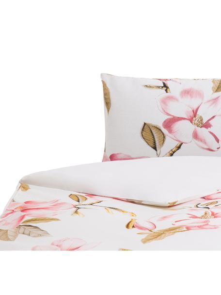 Funda nórdica Magnolia, Algodón El algodón da una sensación agradable y suave en la piel, absorbe bien la humedad y es adecuado para personas alérgicas, Blanco, tonos verdes y rosas, Cama 90 cm (155 x 220 cm)