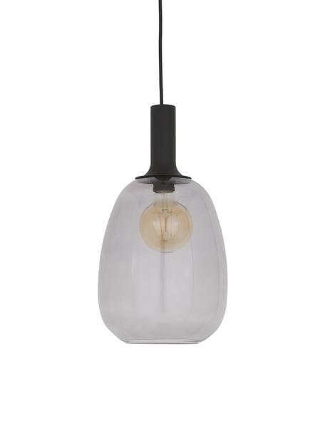 Kleine Pendelleuchte Alton aus Glas, Lampenschirm: Glas, Baldachin: Metall, beschichtet, Schwarz, Grau, transparent, Ø 23 cm x H 43 cm