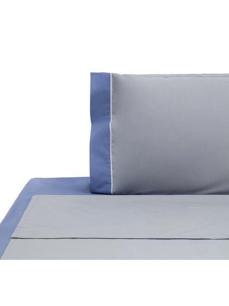 Set lenzuola in cotone ranforce Tinta Unita, Tessuto: ranforce, Grigio, bianco, blu, 150 x 290 cm
