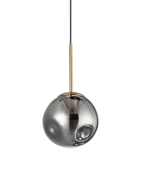 Kleine Pendelleuchte Spada aus Glas, Lampenschirm: Glas, Baldachin: Kunststoff, Messingfarben, Grau, Ø 15 cm x H 28 cm