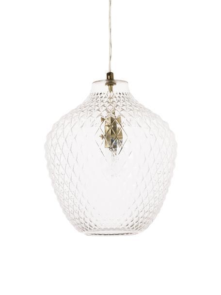 Kleine Pendelleuchte Lee aus Glas, Lampenschirm: Glas, Baldachin: Metall, verchromt, Transparent, Messing, Ø 27 cm x H 33 cm