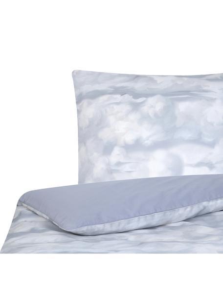 Pościel z satyny bawełnianej Cloudy, Jasny niebieski, biały, 135 x 200 cm + 1 poduszka 80 x 80 cm