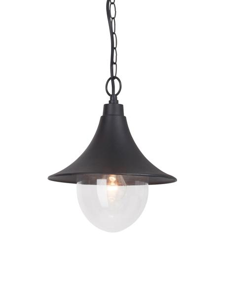 Outdoor hanglamp Berna, Lampenkap: gepoedercoat aluminium, Diffuser: kunststof, Zwart, transparant, Ø 26 x H 91 cm