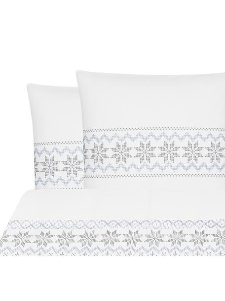 Flanell-Bettwäsche Finja mit Muster, Webart: Flanell Flanell ist ein s, Weiss, Grau, Hellblau, 200 x 200 cm + 2 Kissen 80 x 80 cm