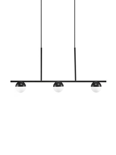Grosse Pendelleuchte Contina mit Opalglas, Lampenschirm: Opalglas, Baldachin: Metall, beschichtet, Weiss, Schwarz, 90 x 42 cm