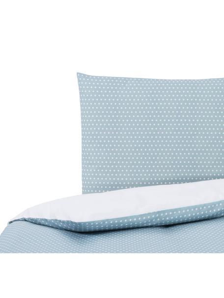 Dubbelzijdig dekbedovertrek Perun, Katoen, Bovenzijde: lichtblauw. Onderzijde: wit, 140 x 200 cm