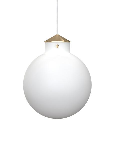 Lampada a sospensione in vetro Raito, Vetro opale, metallo, Bianco opalino, ottone, Ø 30 x Alt. 37 cm