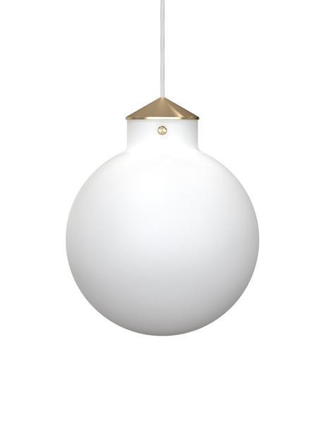 Pendelleuchte Raito aus Glas, Lampenschirm: Opalglas, Dekor: Metall, Baldachin: Kunststoff, Opalweiss, Messingfarben, Ø 30 cm x H 37 cm