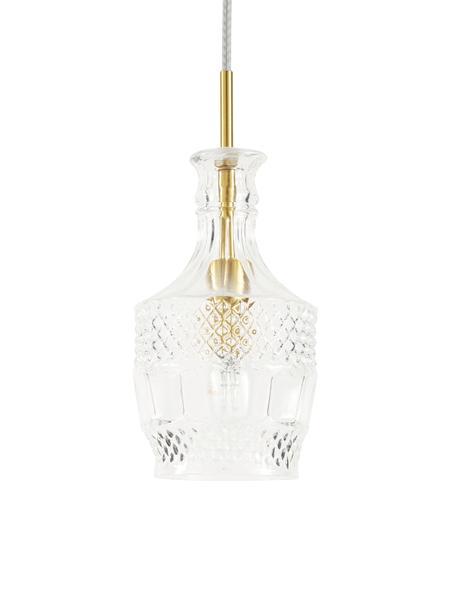 Lámpara de techo pequeña Brussels, Pantalla: vidrio, Adornos: metal, recubierto, Anclaje: metal recubierto, Cable: cubierto en tela, Transparente, dorado, Ø 13 x Al 30 cm