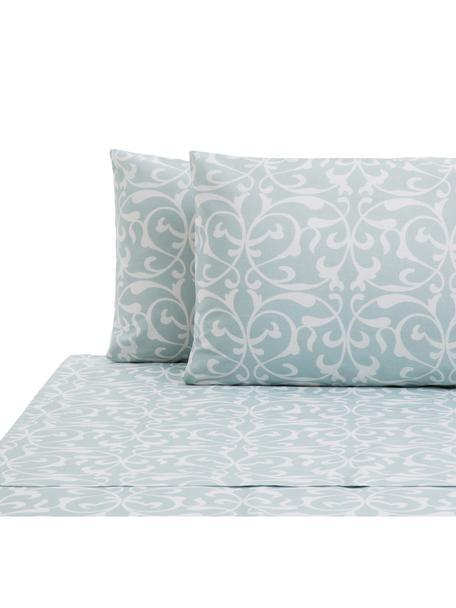 Set lenzuola in cotone Sola, Cotone, Azzurro, bianco, 240 x 270 cm