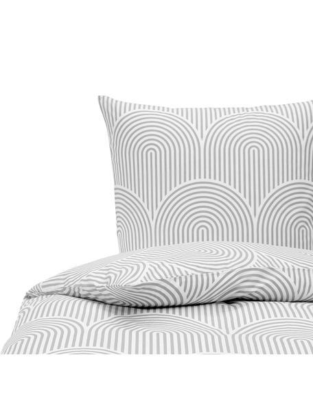 Pościel z bawełny Arcs, Szary, biały, 135 x 200 cm + 1 poduszka 80 x 80 cm