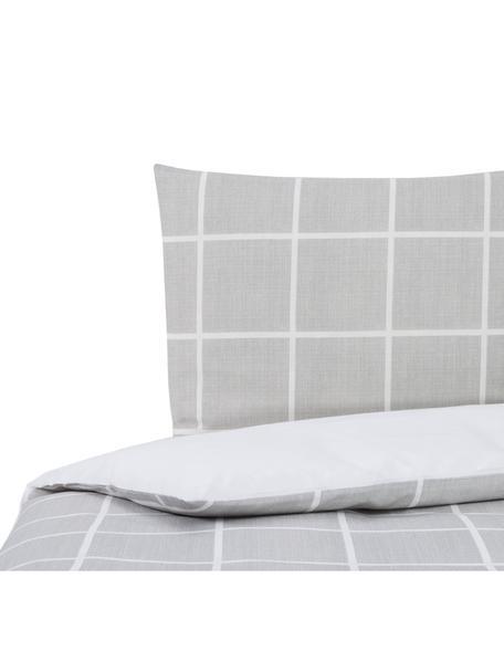 Dubbelzijdig dekbedovertrek Barte, Katoen, Bovenzijde: grijs, wit. Onderzijde: wit, 140 x 200 cm