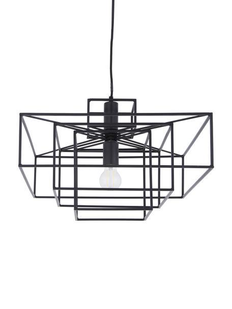 Pendelleuchte Cube in Schwarz, Metall, lackiert, Schwarz, matt, 46 x 50 cm