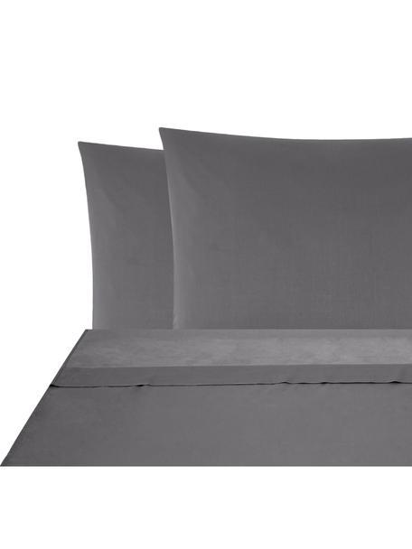 Set lenzuola in raso di cotone Comfort, Tessuto: raso Densità del filo 250, Grigio scuro, 180 x 300 cm
