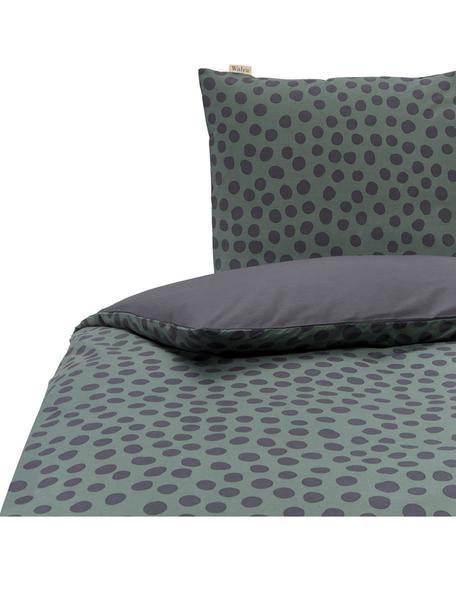 Dubbelzijdige renforcé dekbedovertrek Spots and Dots, Weeftechniek: renforcé, Donkergroen, zwart, 140 x 220 cm