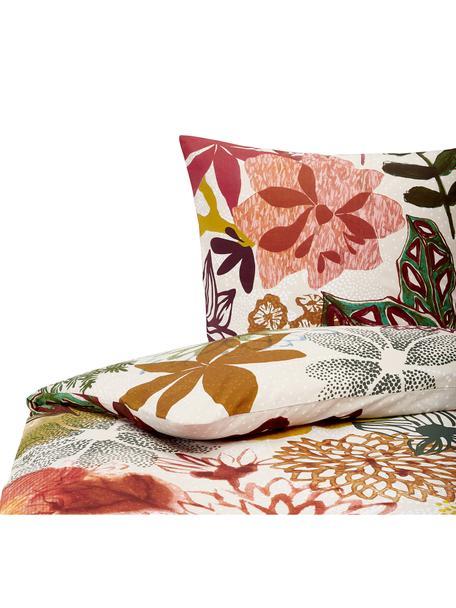Baumwoll-Bettwäsche Fiori mit buntem Blumenmuster, 100% Baumwolle  Fadendichte 144 TC, Standard Qualität  Bettwäsche aus Baumwolle fühlt sich auf der Haut angenehm weich an, nimmt Feuchtigkeit gut auf und eignet sich für Allergiker, Beige, Mehrfarbig, 135 x 200 cm + 1 Kissen 80 x 80 cm
