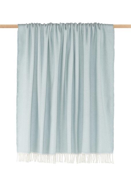 Manta Skyline, 50% algodón, 50% acrílico, Azul cielo, blanco crudo, An 140 x L 180 cm