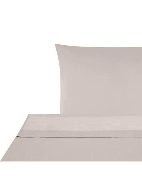Set lenzuola in raso di cotone Comfort, Tessuto: raso Densità del filo 250, Taupe, 150 x 300 cm