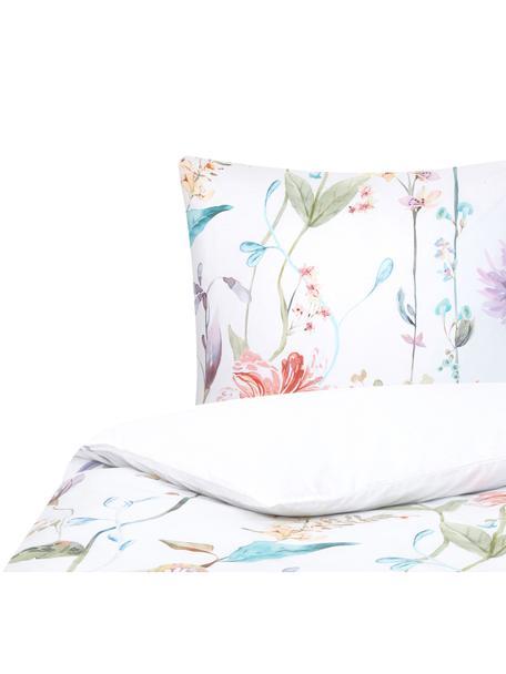 Baumwollperkal-Bettwäsche Meadow mit Aquarell Blumen-Muster, Webart: Perkal Fadendichte 180 TC, Mehrfarbig, Weiss, 135 x 200 cm + 1 Kissen 80 x 80 cm