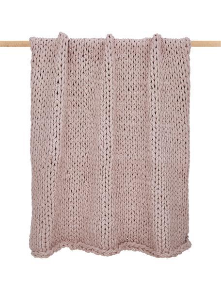 Plaid a maglia grossa rosa cipria Adyna, 100% poliacrilico, Rosa cipria, Larg. 130 x Lung. 170 cm