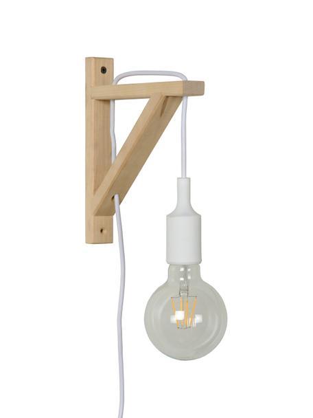 Wandleuchte Fix mit Stecker aus Holz, Weiß, 3 x 23 cm