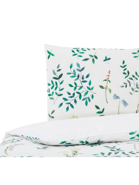 Dubbelzijdig dekbedovertrek Janus, Katoen, Bovenzijde: groentinten, wit. Onderzijde: wit, 140 x 200 cm