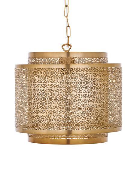 Lampa wisząca z metalu boho Hermine, Mosiądz, matowy, Ø 35 x W 28 cm