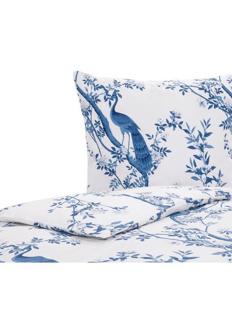 Baumwollperkal-Bettwäsche Annabelle mit floraler Zeichnung, Webart: Perkal Fadendichte 200 TC, Blau, Weiss, 135 x 200 cm + 1 Kissen 80 x 80 cm