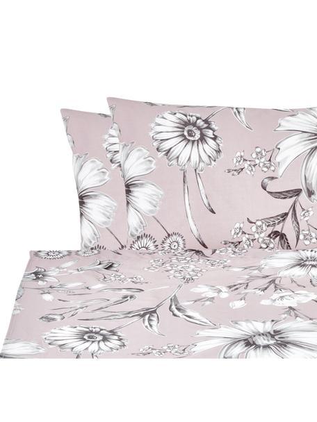Set lenzuola in cotone Field, Cotone, Rosa cipria, grigio, bianco, 240 x 270 cm