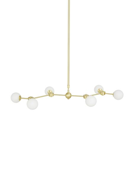 Grosse Pendelleuchte Aurelia in Gold, Baldachin: Metall, vermessingt, Weiss, Messing, 110 x 68 cm