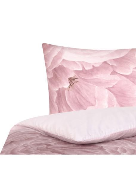 Pościel z perkalu Rosario, Biały, blady różowy, 135 x 200 cm + 1 poduszka 80 x 80 cm
