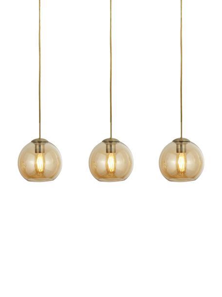 Lampada a sospensione in vetro Pendants, Metallo, rivestito, vetro, Dorato, ambra, trasparente, Larg. 70 x Alt. 20 cm