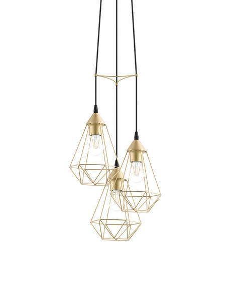 Lámpara de techo cluster Kyle, Anclaje: metal cepillado, Cable: cubierto en tela, Dorado, Ø 36 cm