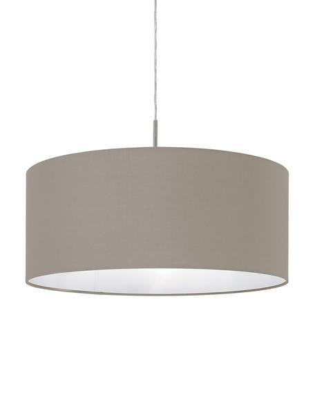 Pendelleuchte Parry, Baldachin: Metall, vernickelt, Lampenschirm: Textil, Silberfarben,Taupe, Ø 53 x H 25 cm