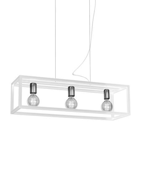 Pendelleuchte Cohen in Weiß, Baldachin: Metall, beschichtet, Weiß, Silberfarben, 85 x 90 cm
