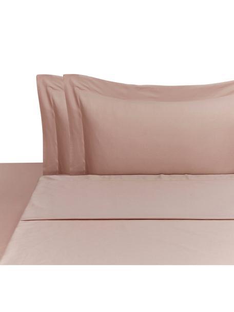 Set lenzuola in raso di cotone Cleo, Rosa cipria, 260 x 295 cm
