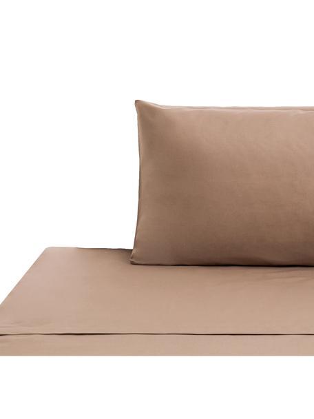 Set lenzuola in cotone ranforce Lenare, Tessuto: ranforce, Fronte e retro: taupe, 150 x 290 cm