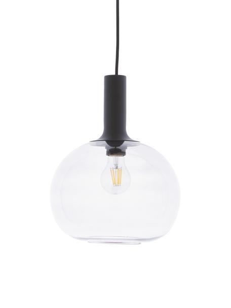 Kleine Pendelleuchte Alton aus Rauchglas, Lampenschirm: Glas, Baldachin: Metall, beschichtet, Schwarz, Grau, transparent, Ø 25 cm x H 33 cm