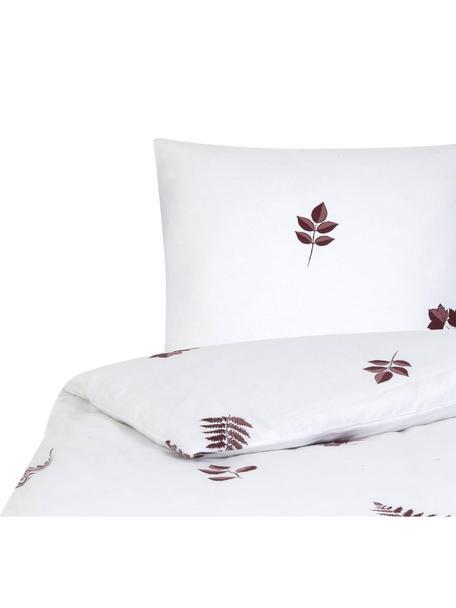 Flanell-Bettwäsche Fraser mit winterlichem Blattmuster, Webart: Flanell Flanell ist ein k, Bordeaux, Weiß, 135 x 200 cm + 1 Kissen 80 x 80 cm