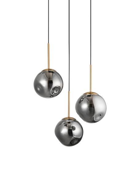 Lámpara de techo de vidrio Spada, Pantalla: vidrio, Anclaje: plástico, Cable: plástico, Latón, gris, Ø 40 x Al 28 cm